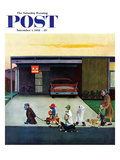"""Trick-Or-Treating in the Burbs"" Saturday Evening Post Cover, November 1, 1958 Giclee Print by John Falter"