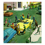 """Blocking the Crosswalk"", September 17, 1955 Giclee Print by Thornton Utz"