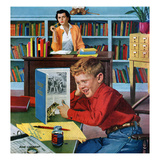 """Frog in the Library"", February 25, 1956 Giclee Print by Richard Sargent"