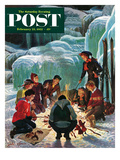 """Apres Ski Bonfire"" Saturday Evening Post Cover, February 23, 1952 Giclee Print by John Clymer"