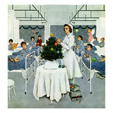 &quot;Children&#39;s Ward at Christmas&quot;, December 25, 1954 Reproduction proc&#233;d&#233; gicl&#233;e par George Hughes
