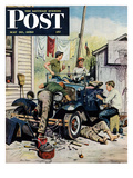 """Working on the Jalopy"" Saturday Evening Post Cover, May 20, 1950 Giclee Print by Stevan Dohanos"