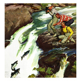 """Salmon Running Upstream"", May 17, 1952 Gicléedruk van Mead Schaeffer"