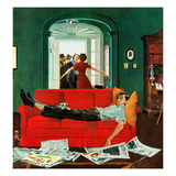 """Sunday Visitors"", February 6, 1954 Giclee Print by George Hughes"