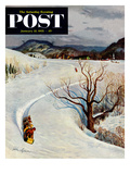 """Tobogganing"" Saturday Evening Post Cover, January 22, 1955 Giclee Print by John Clymer"