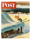 """Barn Skiing"" Saturday Evening Post Cover, February 17, 1951 Giclee Print by John Clymer"