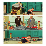 """New Toy Train"", December 19, 1953 Giclee Print by Richard Sargent"
