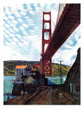 """Fishing Under the Golden Gate"", November 16, 1957 Giclee Print by John Falter"