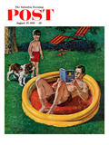 """Wading Pool"" Saturday Evening Post Cover, August 27, 1955 Giclee Print by Amos Sewell"