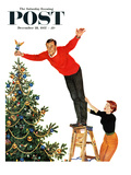 """Topping the Tree"" Saturday Evening Post Cover, December 28, 1957 Giclee Print by John Falter"