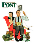 """Fishing Season"" Saturday Evening Post Cover, June 3, 1950 Giclee Print by M. Coburn Whitmore"