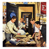 """Package from Home"", February 3, 1951 Giclee Print by Stevan Dohanos"