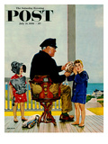 """Listening to the Sea"" Saturday Evening Post Cover, July 21, 1956 Giclee Print by John Falter"
