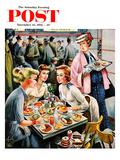 """Cafeteria Dieter"" Saturday Evening Post Cover, November 10, 1956 Giclee Print by Constantin Alajalov"