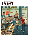"""Doughnuts for Loose Change"" Saturday Evening Post Cover, March 29, 1958 Giclee Print by Ben Kimberly Prins"