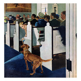 """Dog Walks Down Aisle of Church"", March 24, 1956 Giclee Print by George Hughes"