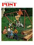 """Swing-set"" Saturday Evening Post Cover, June 16, 1956 Giclee Print by Amos Sewell"