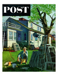 """Window Screens"" Saturday Evening Post Cover, April 10, 1954 Giclee Print by Thornton Utz"