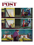 """""""Pillow Fight"""" Saturday Evening Post Cover, November 19, 1955 Giclee Print by Thornton Utz"""