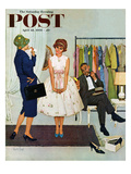 &quot;First Prom Dress&quot; Saturday Evening Post Cover, April 18, 1959 Giclee Print by Kurt Ard