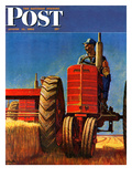 """Wheat Harvest"" Saturday Evening Post Cover, August 12, 1950 Giclee Print by Mead Schaeffer"