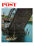 """Drawbridge"" Saturday Evening Post Cover, September 22, 1956 Giclee Print by Ben Kimberly Prins"