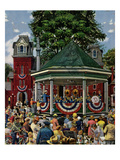 """Patriotic Band Concert"", July 7, 1951 Giclee Print by Stevan Dohanos"