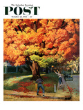 """Tossing the Football"" Saturday Evening Post Cover, October 27, 1956 Giclee Print by John Falter"