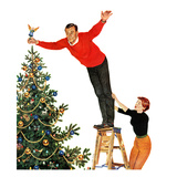 """Topping the Tree"", December 28, 1957 Giclee Print by John Falter"
