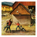 """Ranch Basketball"", November 11, 1950 Giclee Print by John Clymer"