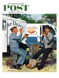 """""""Milkman Meets Pieman"""" Saturday Evening Post Cover, October 11, 1958 Reproduction procédé giclée par Stevan Dohanos"""