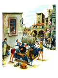 """Coed Tourists in Italy"", August 2, 1958 Giclee Print by Constantin Alajalov"