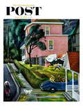"""Spring Storm Blowing In"" Saturday Evening Post Cover, April 26, 1952 Giclee Print by John Falter"