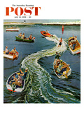 """Making a Wake"" Saturday Evening Post Cover, July 26, 1958 Giclee Print by Ben Kimberly Prins"