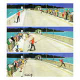 """Bridge Fishing"", August 8, 1959 Giclee Print by Thornton Utz"