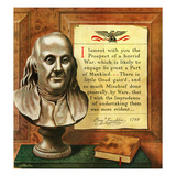 """Benjamin Franklin - Bust and Quote"", January 14, 1950 Giclee Print by John Atherton"