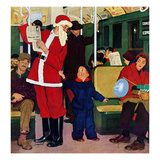 """Giving Santa His Seat"", December 10, 1955 Giclee Print by Richard Sargent"