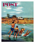 """""""Ice Cream Truck at the Beach"""" Saturday Evening Post Cover, July 31, 1954 Reproduction procédé giclée par Stevan Dohanos"""