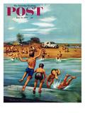 """Ice Cream Truck at the Beach"" Saturday Evening Post Cover, July 31, 1954 Lámina giclée por Stevan Dohanos"
