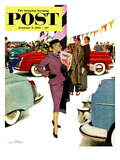 """Woman in Showroom"" Saturday Evening Post Cover, January 5, 1952 Giclee Print by M. Coburn Whitmore"