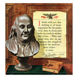 """Benjamin Franklin - Bust and Quote"", January 17, 1953 Giclee Print by John Atherton"