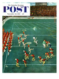 """Marching Band at Halftime"" Saturday Evening Post Cover, November 20, 1954 Giclee Print by Thornton Utz"
