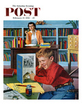 """Frog in the Library"" Saturday Evening Post Cover, February 25, 1956 Giclee Print by Richard Sargent"