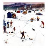 """Ice Fishing Camp"", January 12, 1957 Reproduction procédé giclée par Stevan Dohanos"