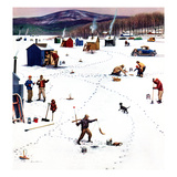 """Ice Fishing Camp"", January 12, 1957 Giclee Print by Stevan Dohanos"