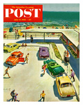 """Flat Tire at the Beach"" Saturday Evening Post Cover, July 23, 1955 Gicléetryck av Thornton Utz"