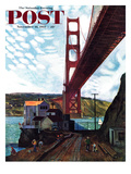 """Fishing Under the Golden Gate"" Saturday Evening Post Cover, November 16, 1957 Giclee Print by John Falter"