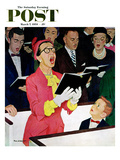 """Singing Praise"" Saturday Evening Post Cover, March 7, 1959 Giclee Print by Richard Sargent"