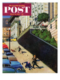 """Spilled Purse on Steep Hill"" Saturday Evening Post Cover, March 26, 1955 Giclee Print by John Falter"
