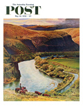 """Yakima River Cattle Roundup"" Saturday Evening Post Cover, May 10, 1958 Giclee Print by John Clymer"